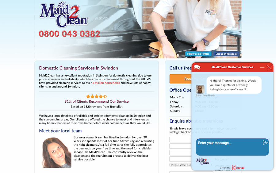 Maid2Clean Swindon proactive live chat popup for a new visitor